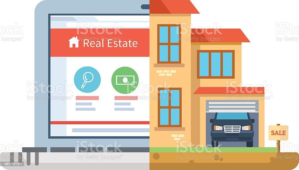 Real estate, laptop building flat style vector art illustration