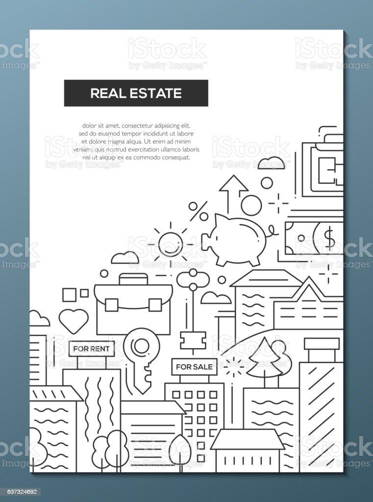 Real Estate - line design brochure poster template A4 vector art illustration