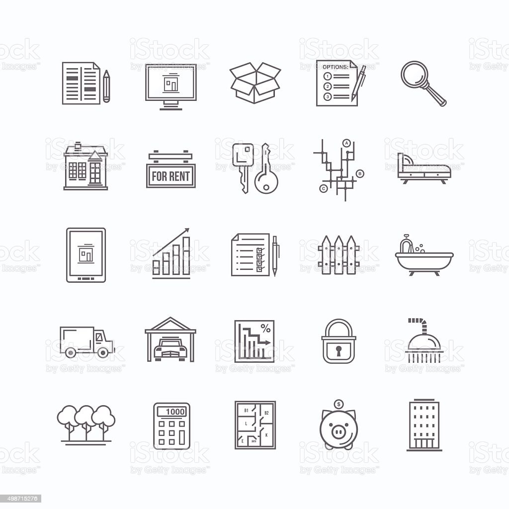 Real estate line icons set vector art illustration