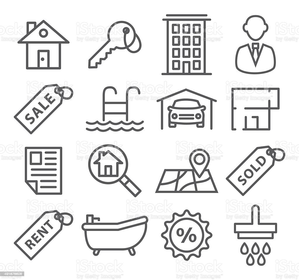 Real Estate Line Icons vector art illustration