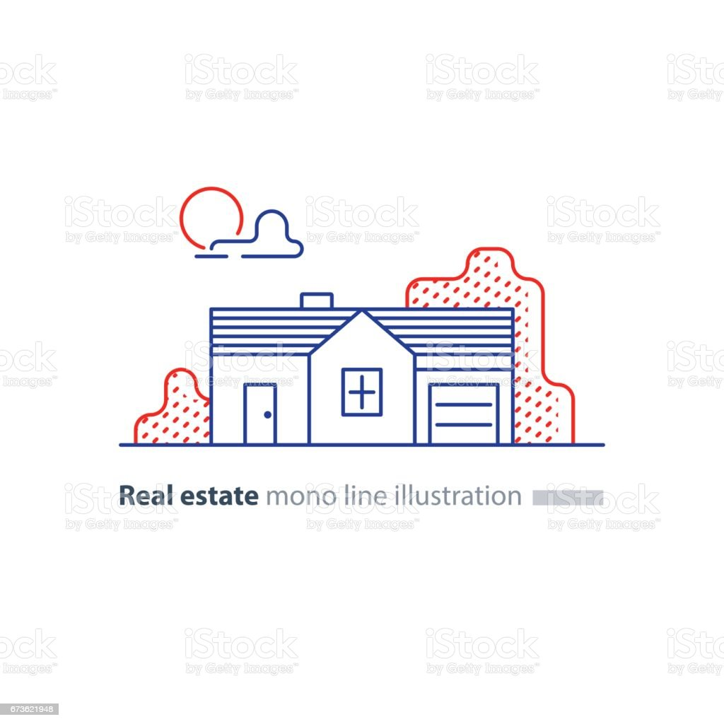 Real estate linear icon, low house property, neighborhood concept vector art illustration