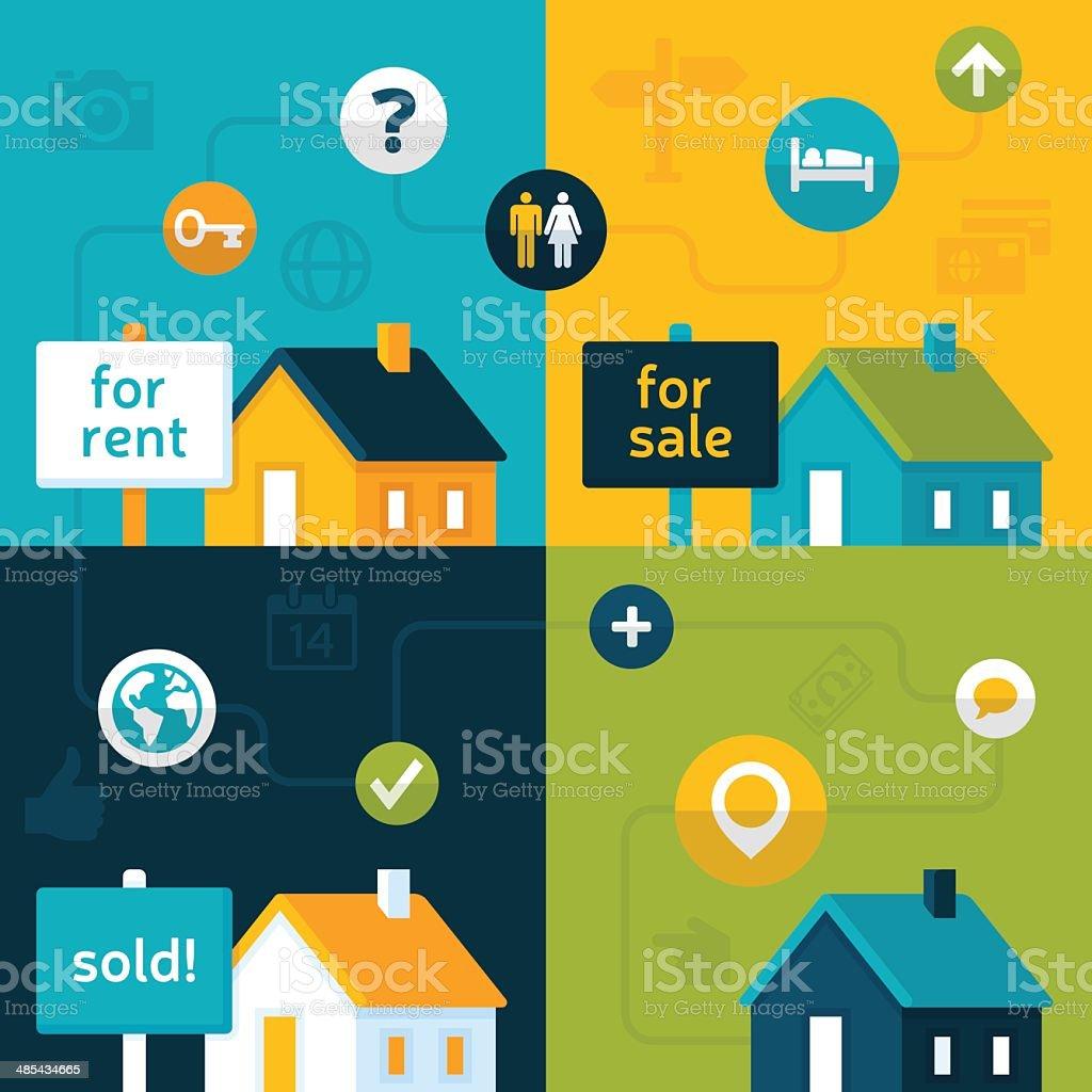 Real Estate Market vector art illustration