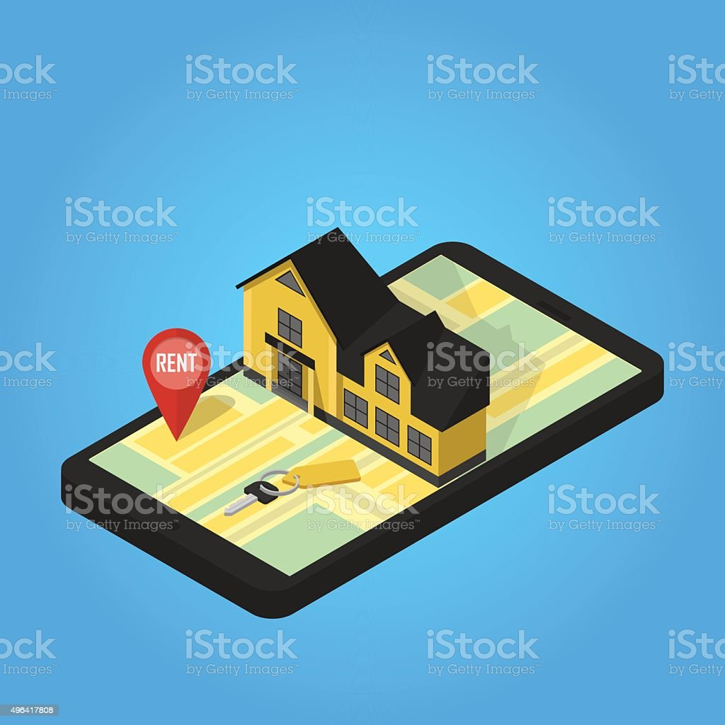 Real estate online searching isometric flat vector art illustration