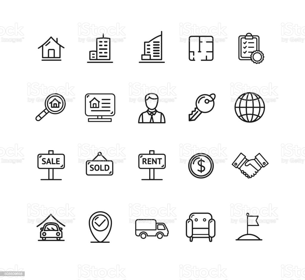 Real Estate Outline Icon Set. Vector vector art illustration