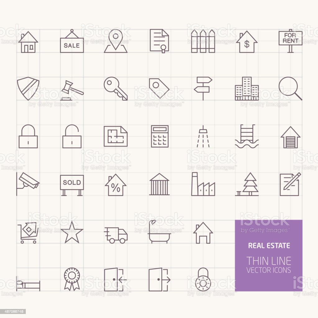 Real Estate Outline Icons for web and mobile apps vector art illustration