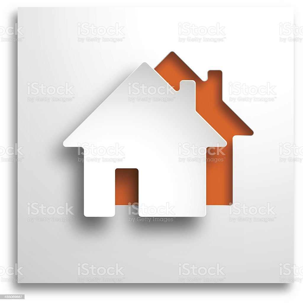 3D real estate paper cut-out on orange background vector art illustration