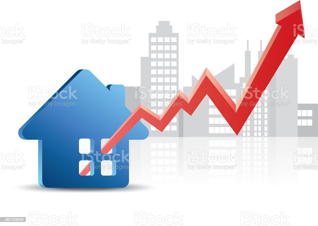 Real estate prices are on the rise vector art illustration