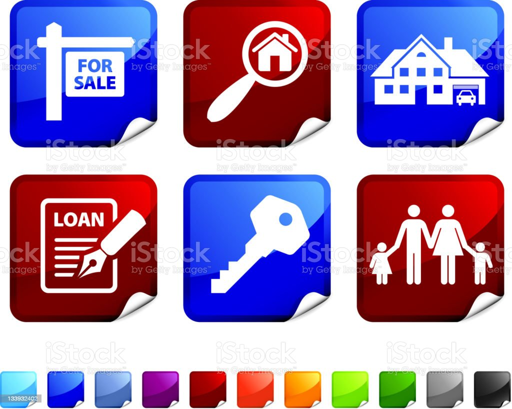 real estate sale royalty free vector icon set stickers royalty-free stock vector art