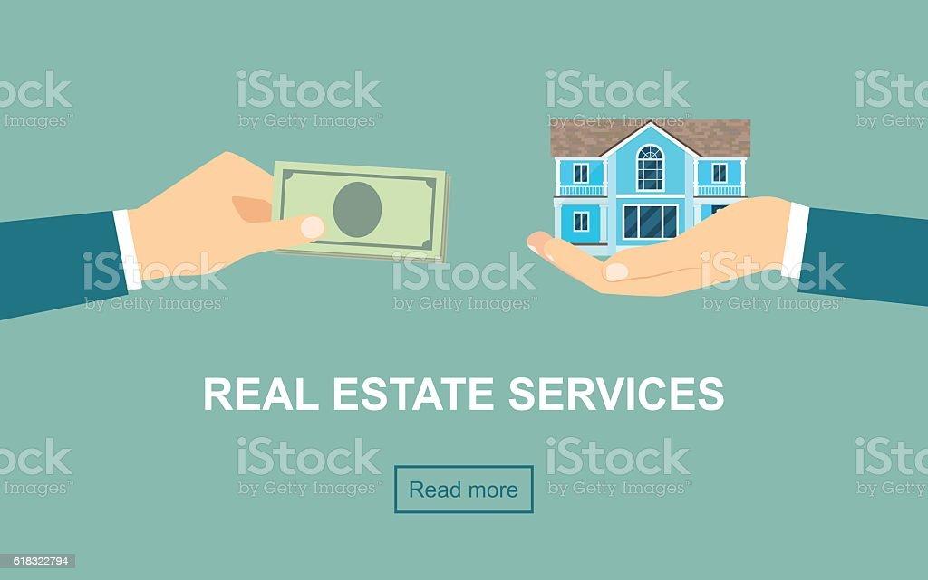 Real estate services. Vector flat illustration vector art illustration