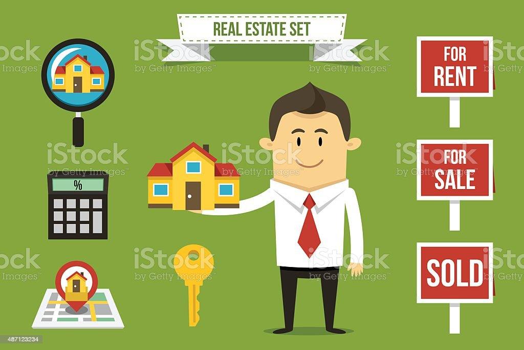 Real estate set vector art illustration