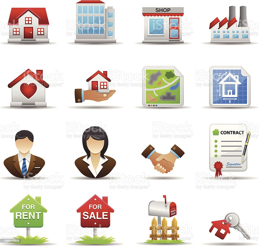 Real Estate Set1 - Color Series vector art illustration