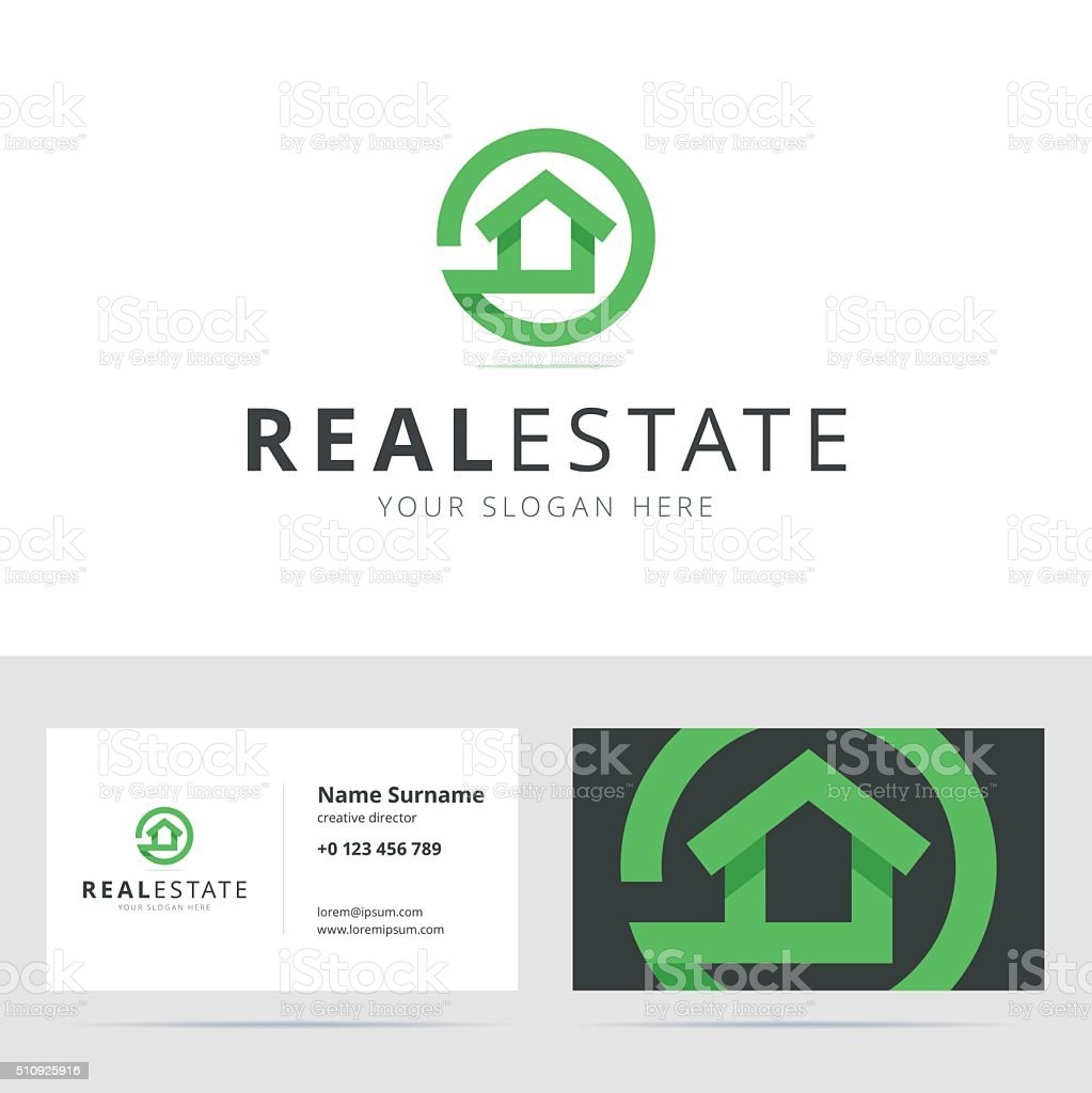 Real estate sign and business card template. vector art illustration
