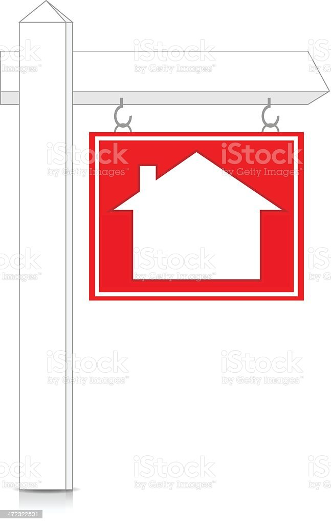Real Estate Sign On Post royalty-free stock vector art