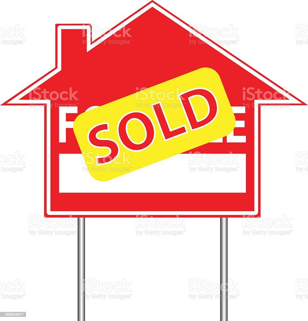 Real Estate Sign | Sold vector art illustration