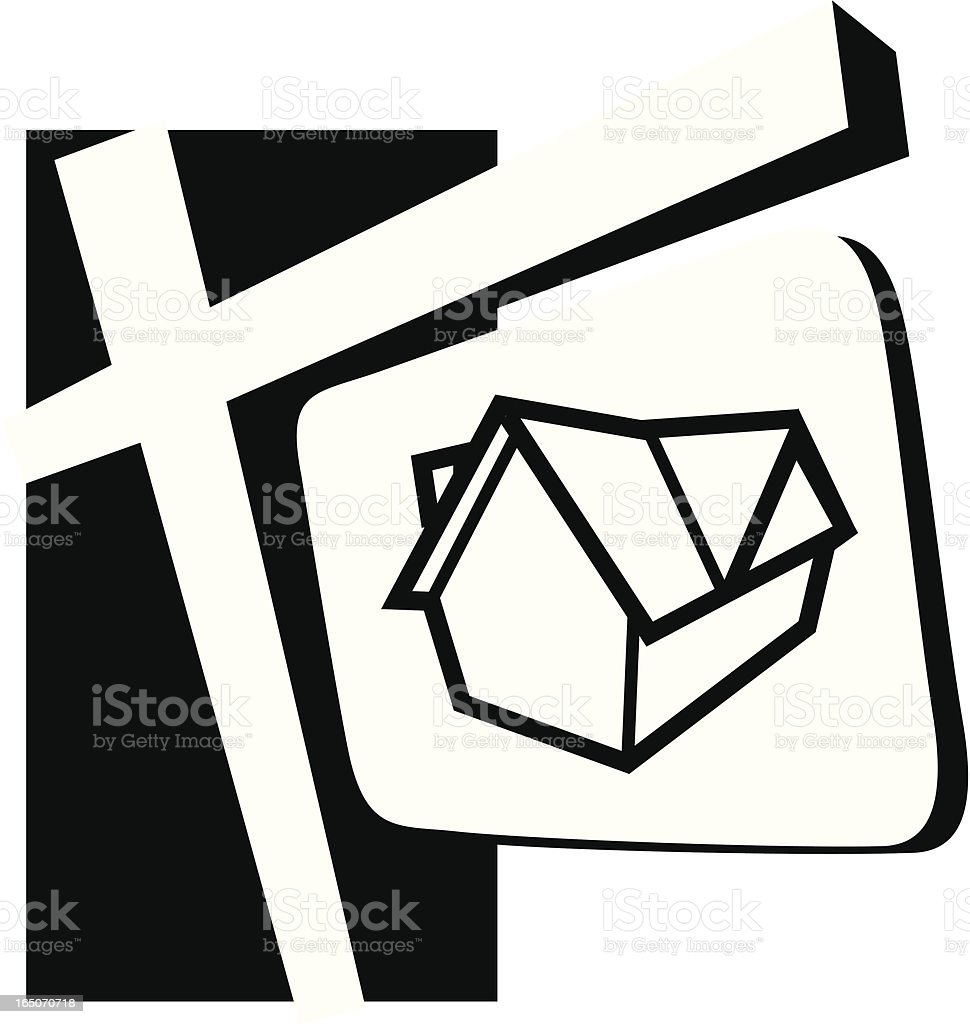 Real Estate Sign White royalty-free stock vector art