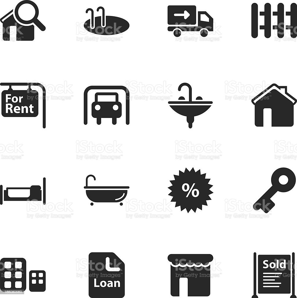 Real Estate Silhouette Icons royalty-free stock vector art