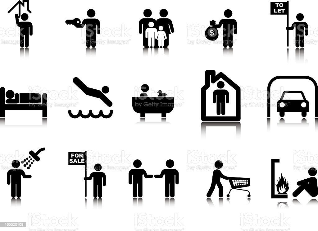 Real Estate Stick Figures vector art illustration