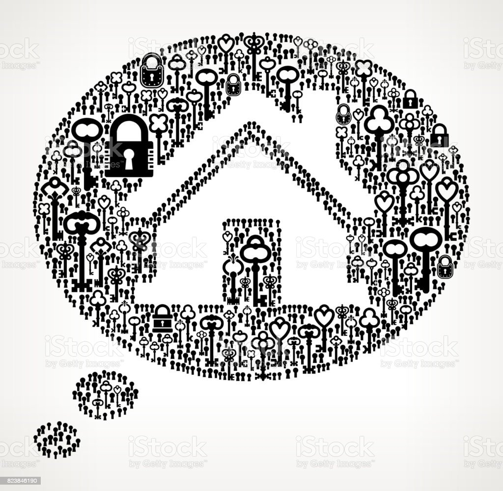 Real Estate Talk Antique Keys Black and White Vector Pattern vector art illustration