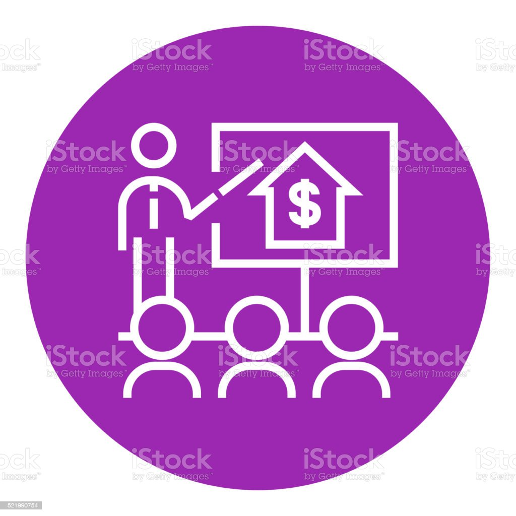 Real estate training line icon vector art illustration