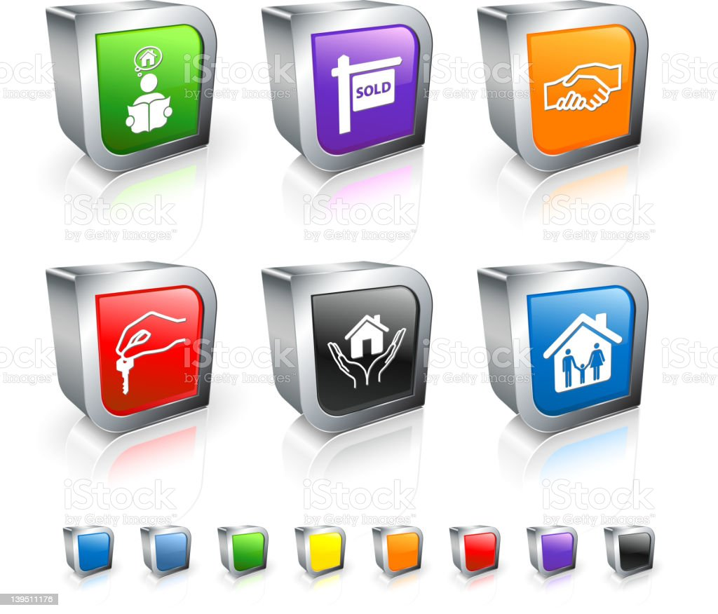 real estate transaction 3D royalty free vector icon set royalty-free stock vector art