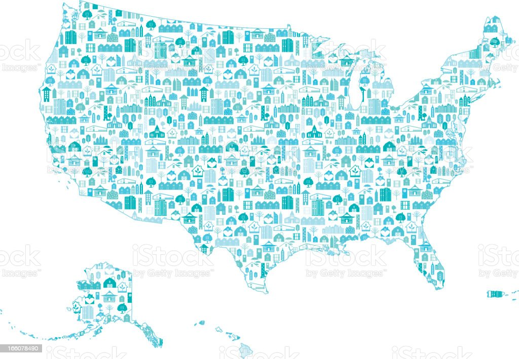 Real Estate United States Map Stock Vector Art IStock - Us map vector