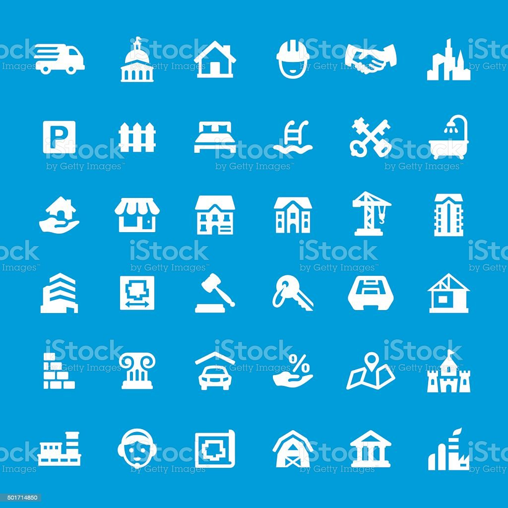 Real Estate vector icon set vector art illustration