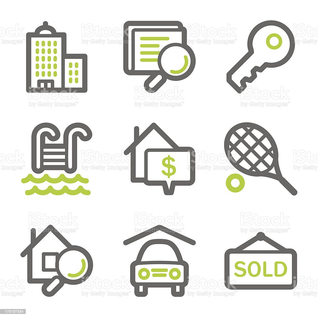 Real estate web icons, green and gray contour series vector art illustration