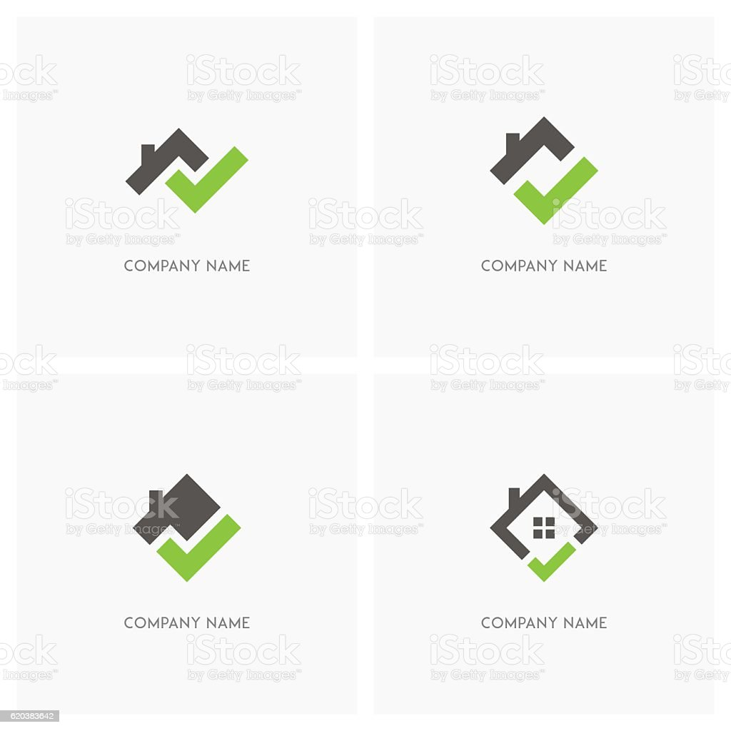 Real estate with check mark design element vector art illustration