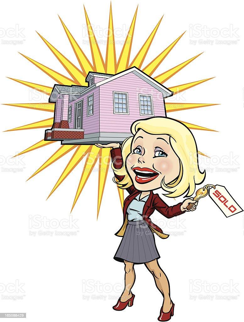 Real Estate Woman vector art illustration