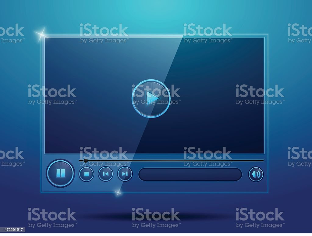 Real Glossy Media Player royalty-free stock vector art
