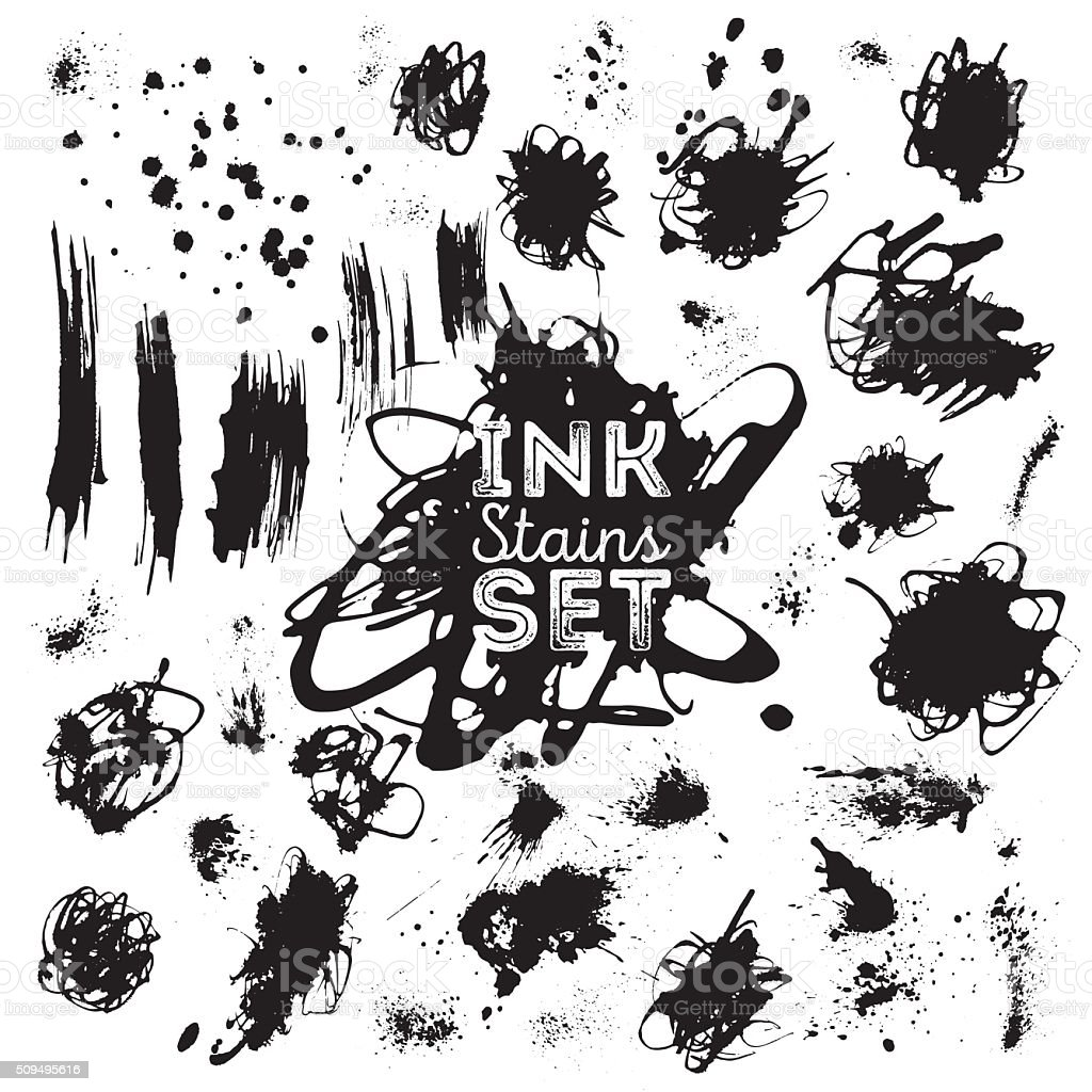Real ink stains, splashes set for design. vector art illustration