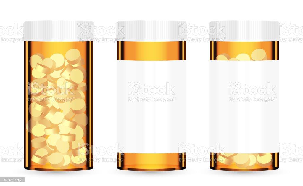 real orange medical pill bottle with pills inside vector art illustration