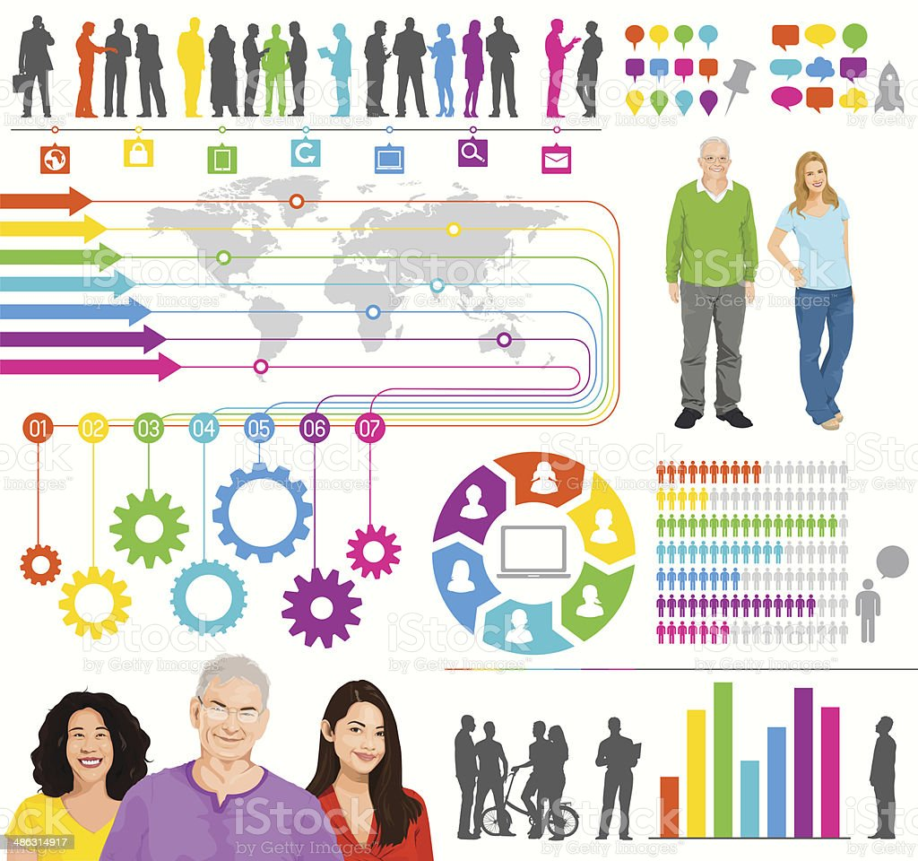 Real People with World Infographic vector art illustration
