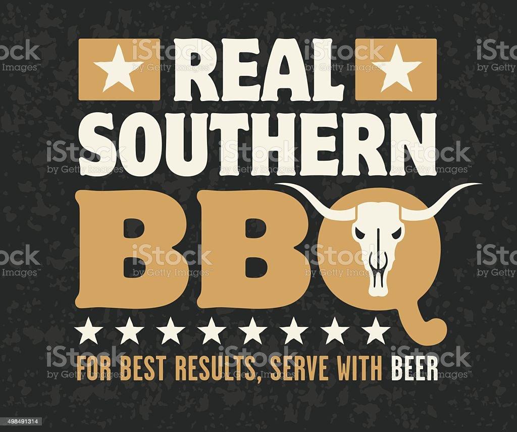 Real Southern Barbecue Emblem vector art illustration