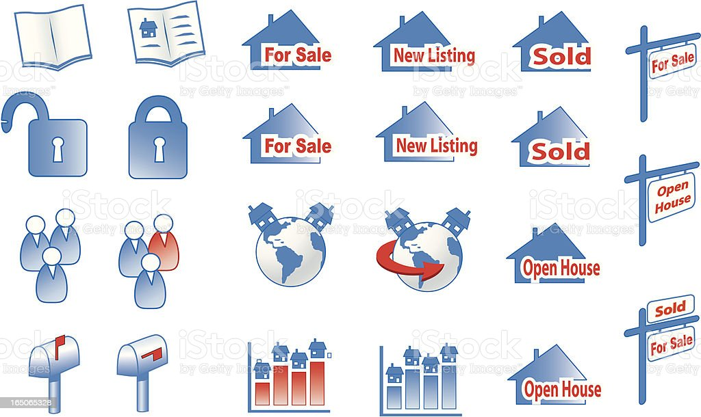 realestate icons royalty-free stock vector art