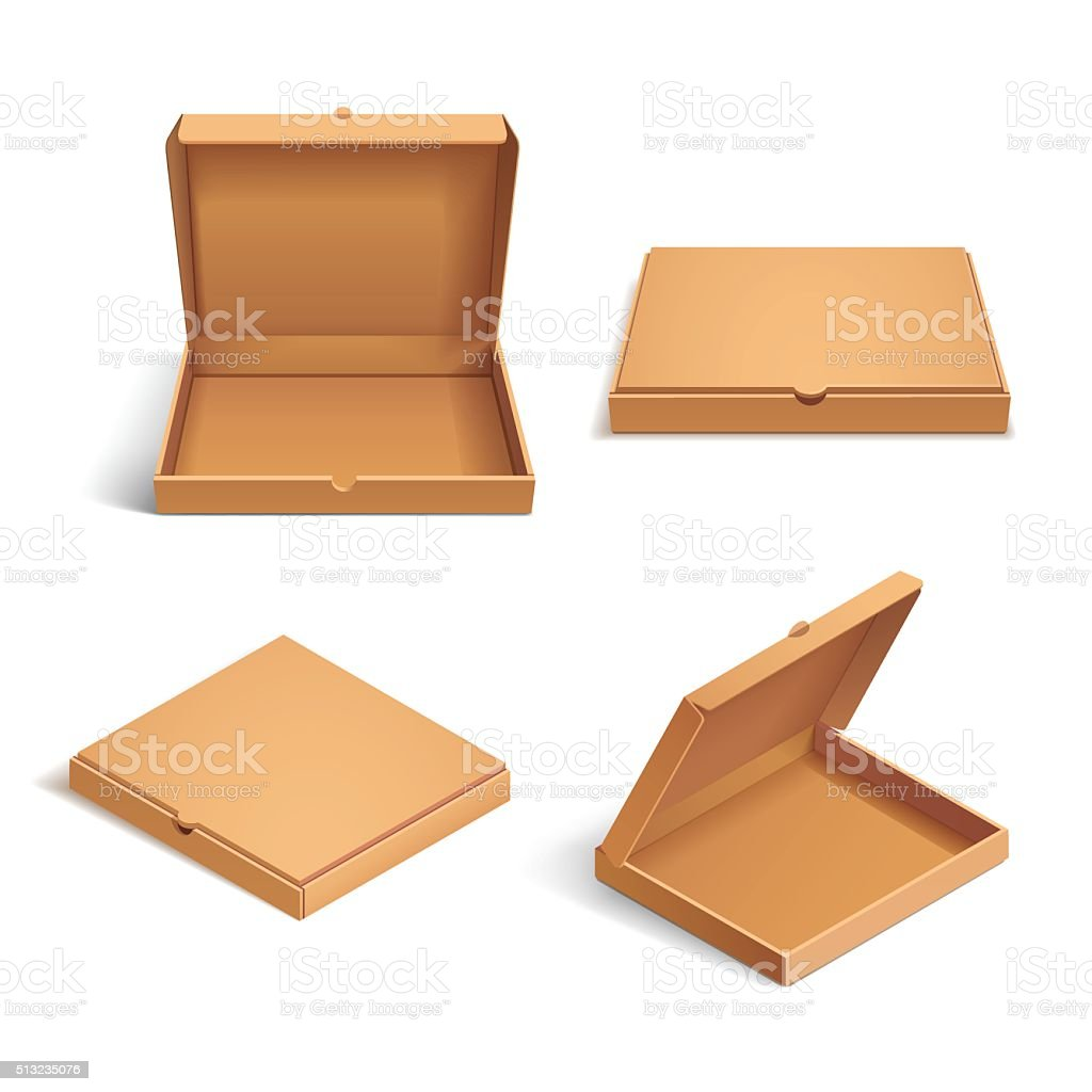 Realistic 3d isometric pizza cardboard box vector art illustration