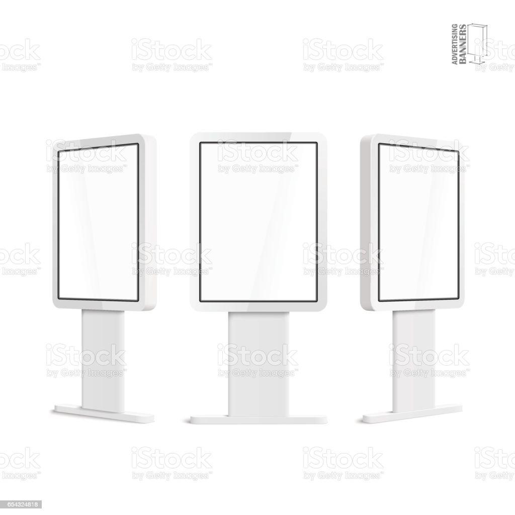 Realistic 3D outdoor lightbox advertising. vector art illustration