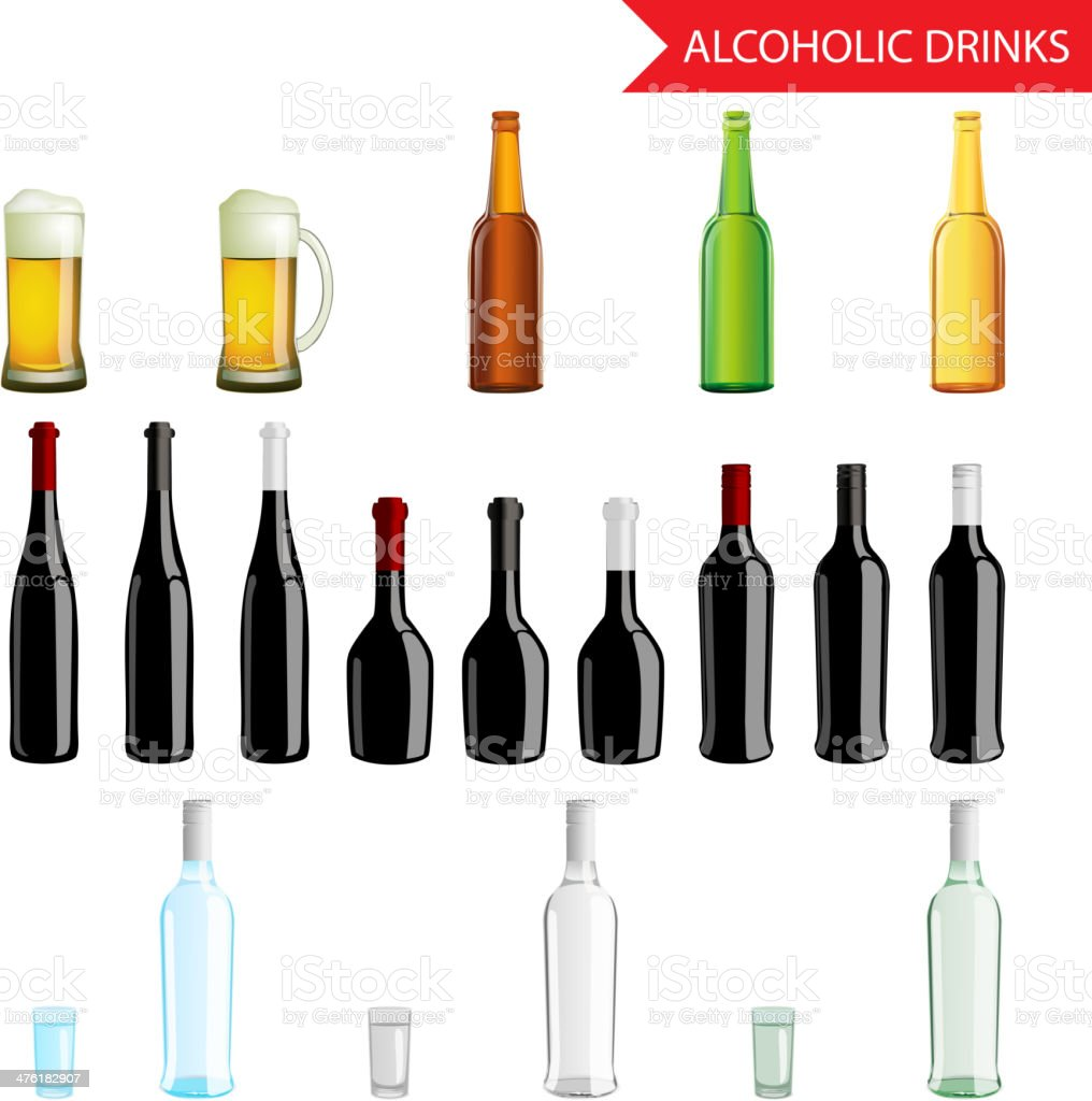 Realistic Alcoholic Drinks and beverages icon set isolated vector royalty-free stock vector art
