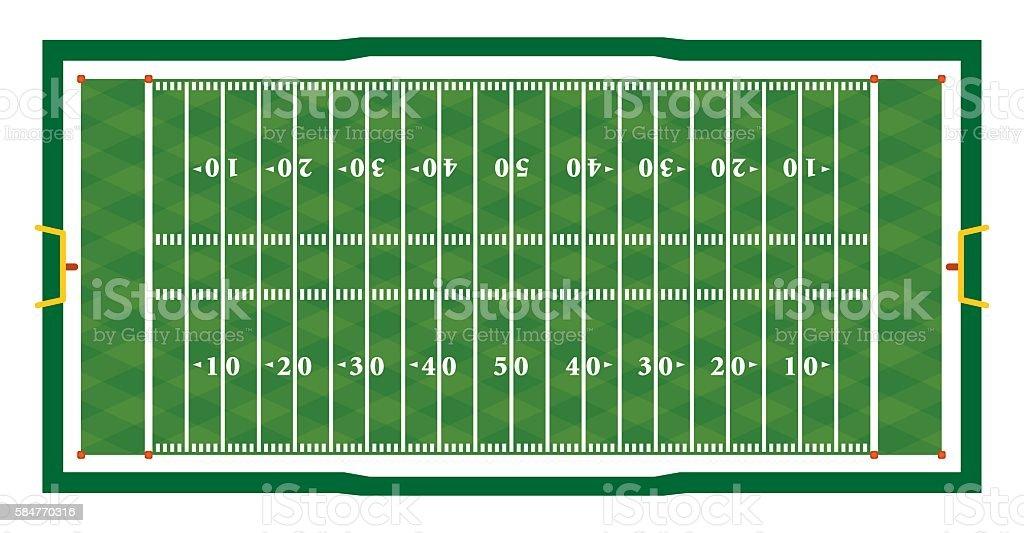 Realistic American Football Field Illustration vector art illustration