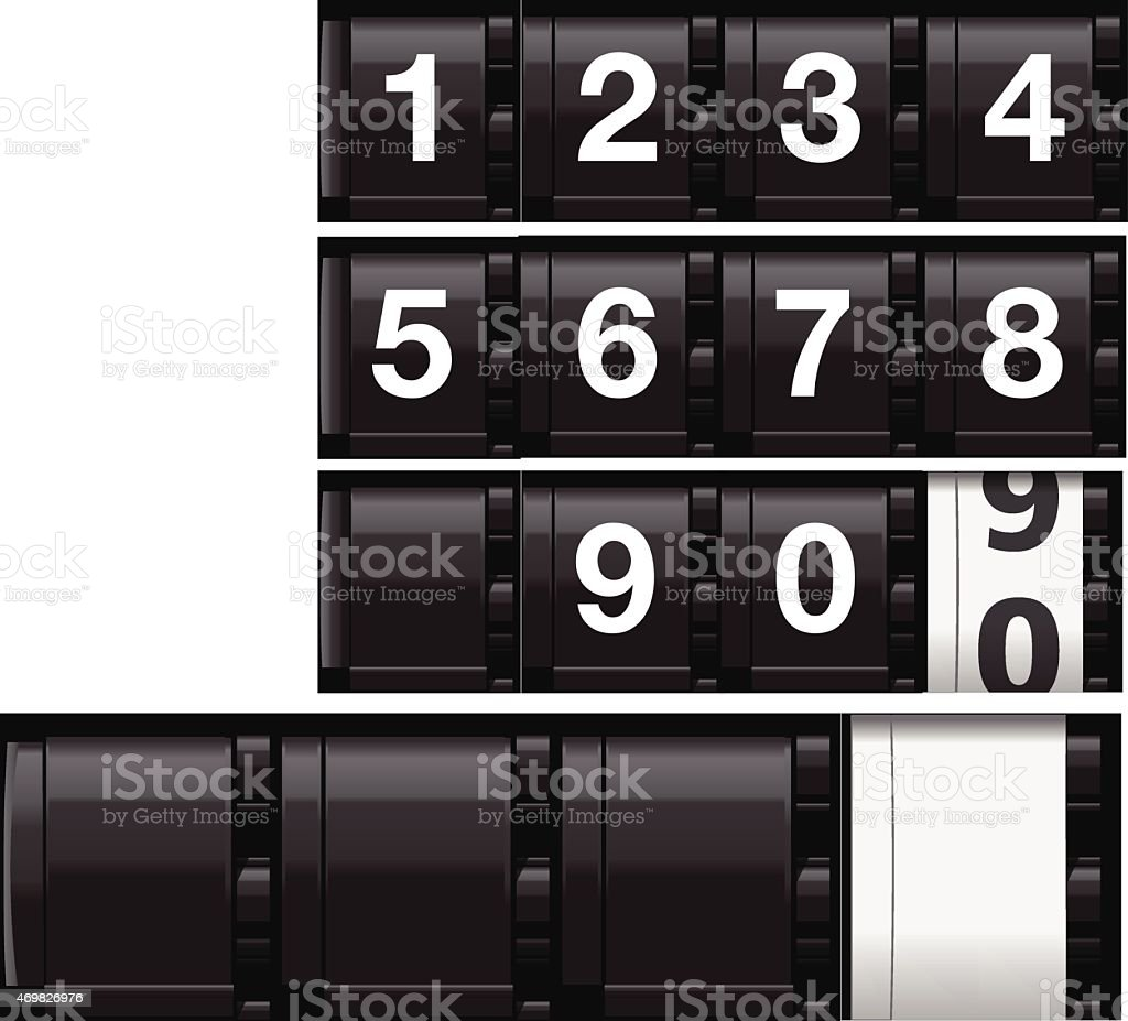 Realistic Analog Odometer or Countdown Timer (Vector) vector art illustration