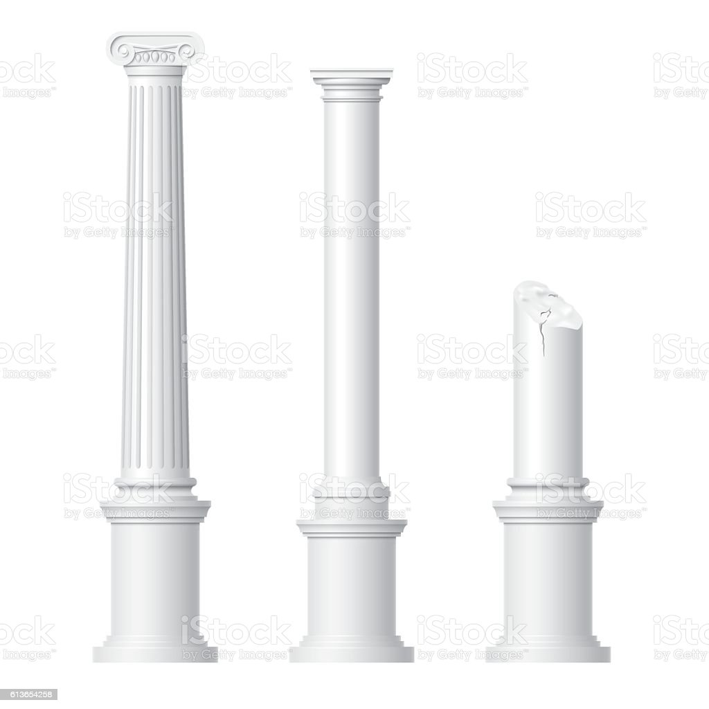 Realistic antique columns vector art illustration