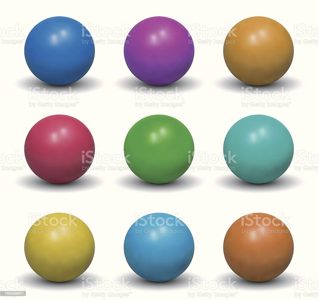 Realistic Balls - Nine Color Shades vector art illustration