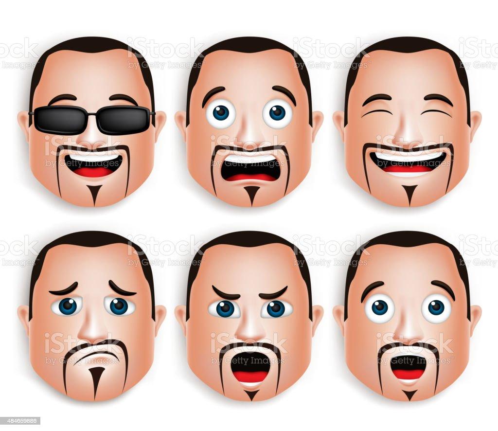 Realistic Big Fat Man Head with Different Facial Expressions vector art illustration