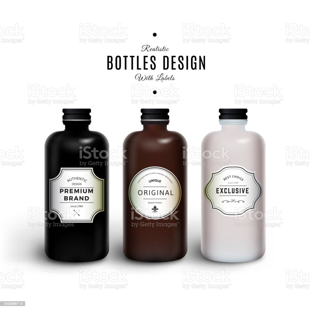 Realistic Black, Brown and White Vector Bottles with Vintage Labels vector art illustration