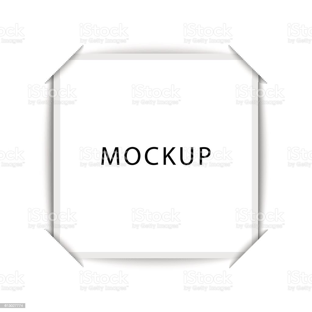 Realistic blank photos square shape inserted in a photo album vector art illustration