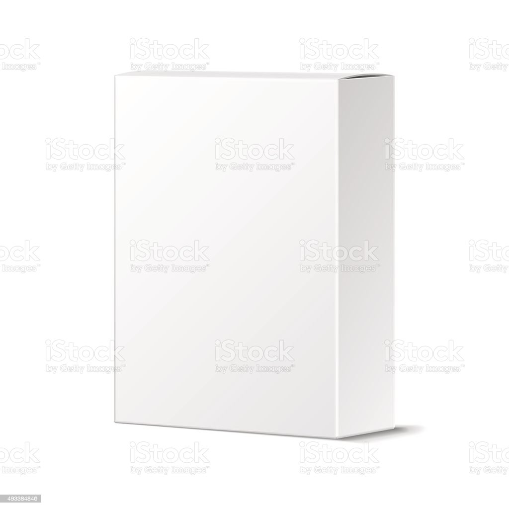 Realistic Blank White Product Package Box Mockup. Container, Pac vector art illustration