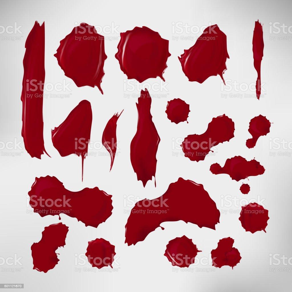 Realistic blood drops set. Vector illustration of assorted red ink vector art illustration