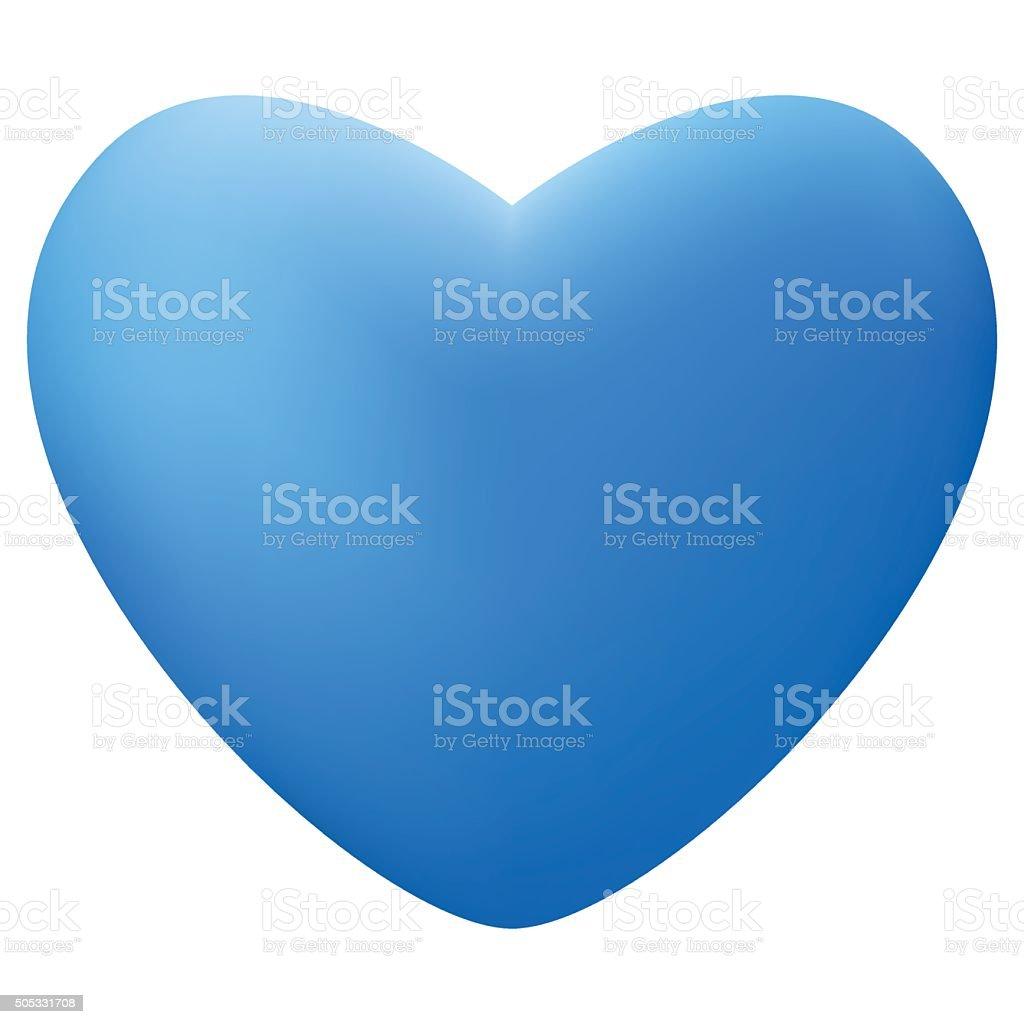 Realistic blue heart shape vector art illustration