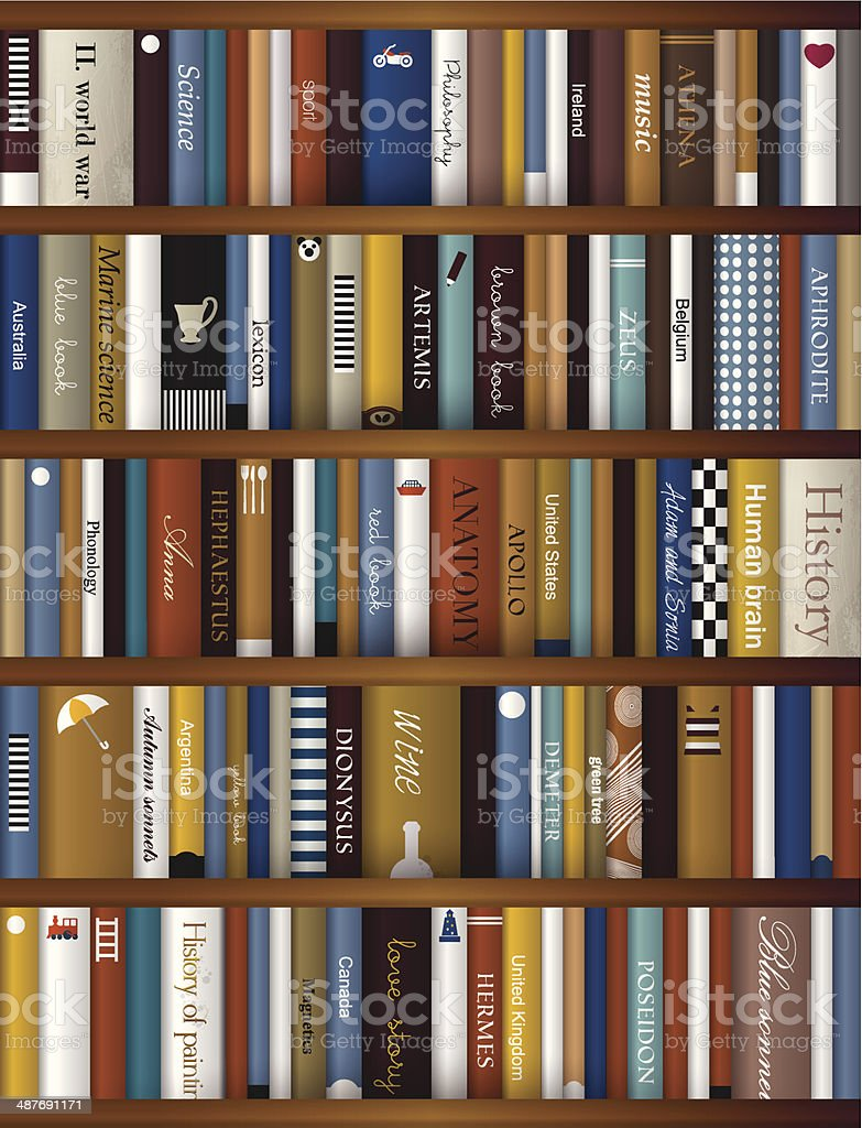 Realistic Book Shelf Interior Design Royalty Free Stock Vector Art
