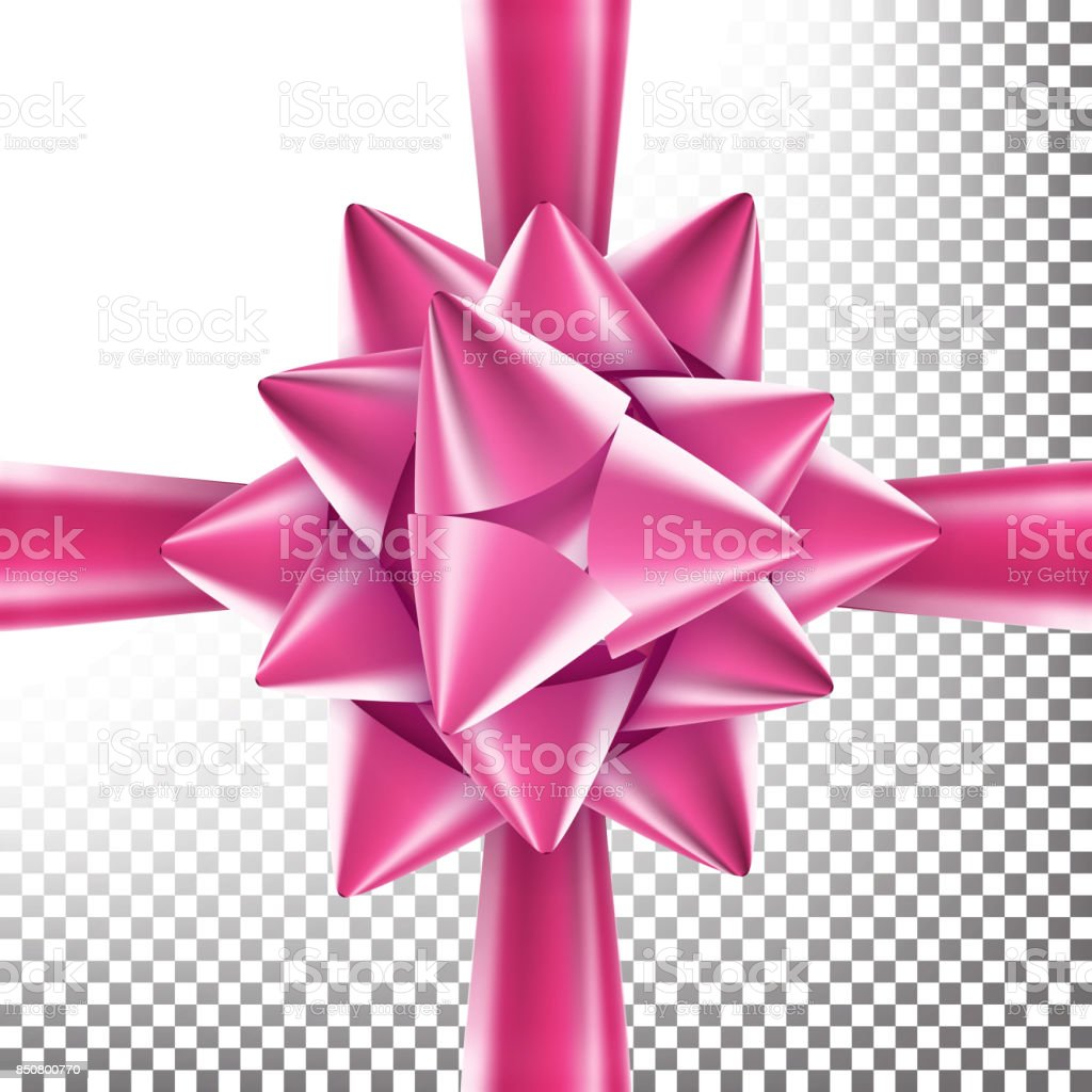 Realistic Bow Vector. Decoration For Birthday Gift, Anniversary, Party, Xmas Tree Design. Isolated On Transparent Background Illustration vector art illustration